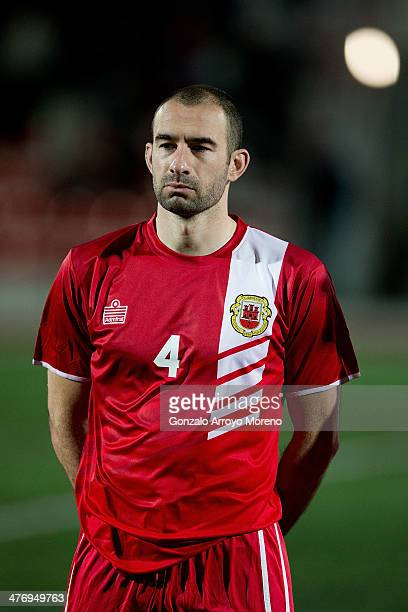 Danny Higginbotham of Gibraltar looks on prior to start the International Friendly football match between Gibraltar and Faroe Islands at Victoria...