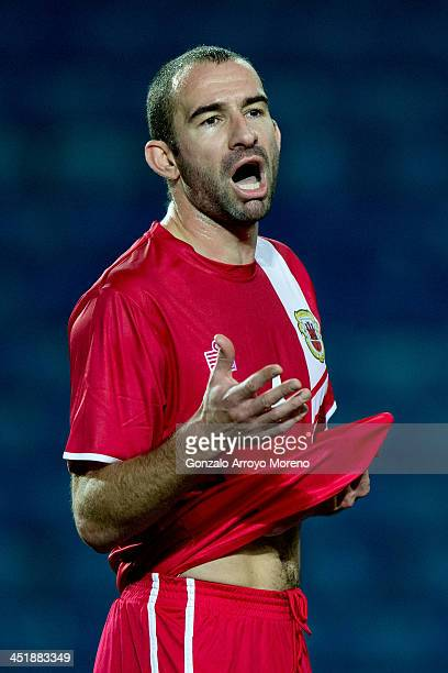 Danny Higginbotham of Gibraltar reacts during the international friendly match between Gibraltar and Slovakia at Estadio do Alagarve on November 19...