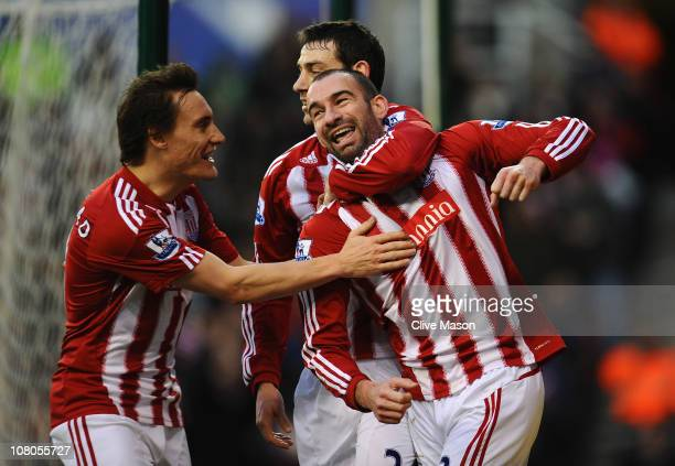 Danny Higginbotham of Stoke City celebrates his goal during the Barclays Premier League match between Stoke City and Bolton Wanderers at Britannia...