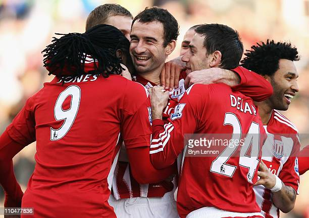 Danny Higginbotham of Stoke City celebrates scoring during the Barclays Premier League match between Stoke City and Newcastle United at Britannia...