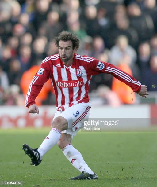 Danny Higginbotham of Stoke City in action during the Barclays Premier League match between Stoke City and Manchester United at Britannia Stadium in...