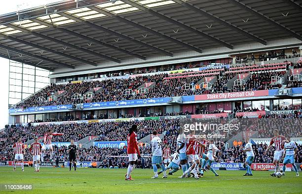 Danny Higginbotham of Stoke City strikes his freekick leading to a goal during the FA Cup sponsored by EON 6th Round match between Stoke City and...