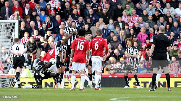 Danny Higginbotham scores his team's third goal during the Barclays Premier League match between Stoke City and Newcastle United at the Britannia...
