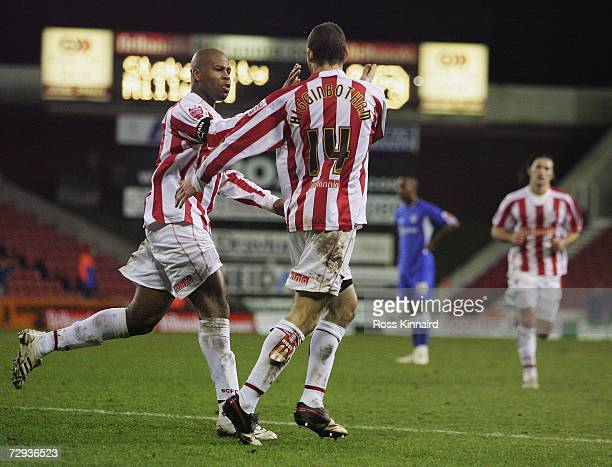Danny Higginbottom of Stoke is congratulated by Michael Duberry after scoring the opening goal during the FA Cup third round tie between Stoke City...