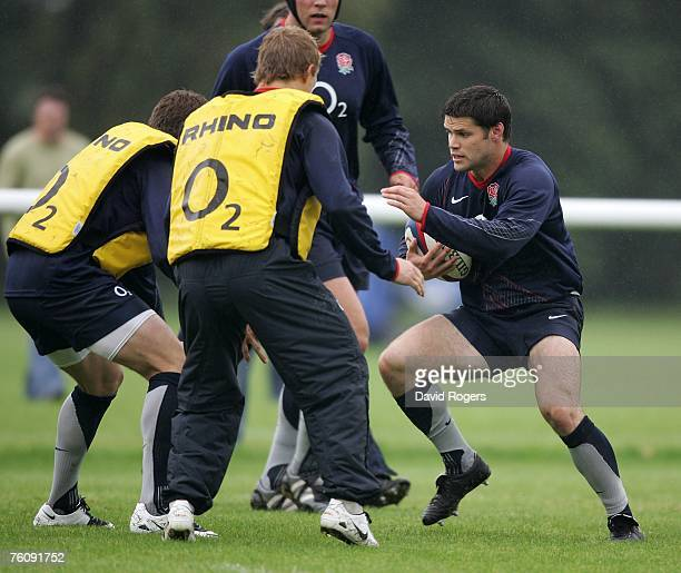 Danny Hipkiss charges forward during the England rugby training session held at Bath University on August 14 2007 in Bath England
