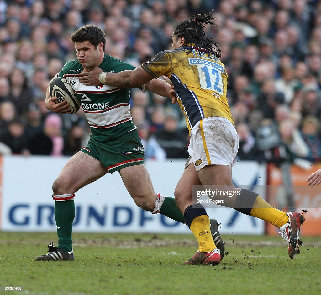 Danny Hipkiss of Leicester is held by Andy Tuilagi during the Guinness Premiership match between Leicester Tigers and Leeds Carnegie at Welford Road on March 1, 2008 in Leicester, England.