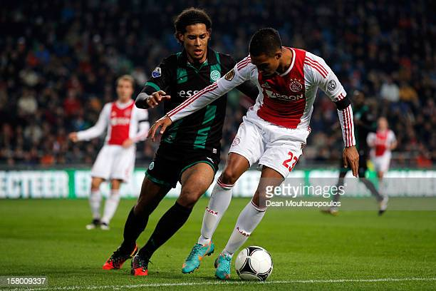 Danny Hoesen of Ajax and Virgil van Dijk of Groningen battle for the ball during the Eredivisie match between Ajax Amsterdam and FC Groningen at...
