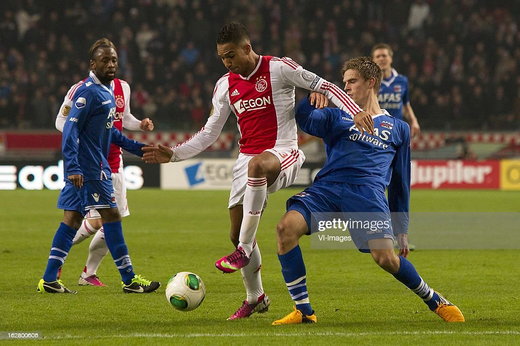 Danny Hoesen of Ajax, Markus Hendriksen of AZ during the Dutch Cup match between Ajax Amsterdam and AZ Alkmaar at the Amsterdam Arena on february 27, 2013 in Amsterdam, The Netherlands