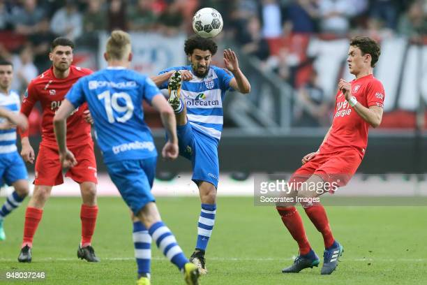 Danny Holla of FC Twente, Youness Mokhtar of PEC Zwolle , Thomas Lam of FC Twente during the Dutch Eredivisie match between Fc Twente v PEC Zwolle at...