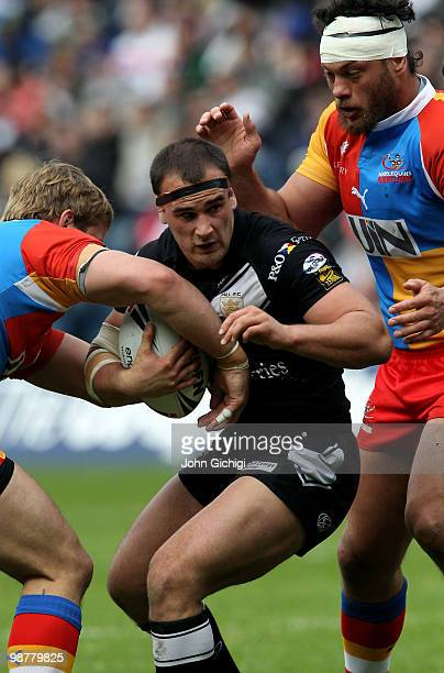 Danny Houghton of Hull FC is tackled during the Engage Super League Magic Weekend game between Hull FC and Harlequins at Murrayfield on May 1 2010 in...