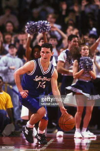 Danny Hurley of the Seton Hall Pirates goes dribbles up court during a college basketball game against the Georgetown Hoyas on March 1 1995 at USAir...