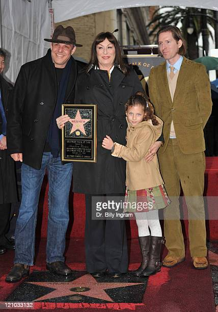 Danny Huston and his sister actress Anjelica Huston Stella Huston and director Wes Anderson pose as Anjelica Huston is honored with Star on the...