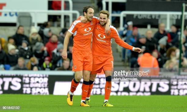 Danny Hylton of Luton Town celebrates scoring the 1st Luton goal with Andrew Shinnie during the The Emirates FA Cup Third Round match between...