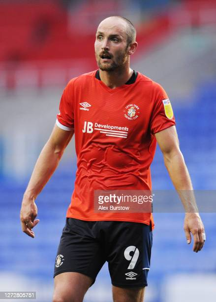 Danny Hylton of Luton Town looks on during the Carabao Cup Second Round match between Reading and Luton Town at Madejski Stadium on September 15 2020...