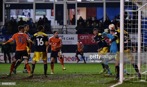 Danny Hylton of Luton Town scores his side's second goal during the EFL Checkatrade Trophy Semi Final match between Luton Town and Oxford United at...