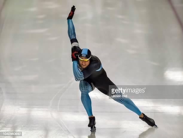 Danny Ihle ueber die 500m der Maenner waehrend der Deutschen Eisschnelllauf Meisterschaft in der Max Aicher Arena am 27. Oktober 2017 in Inzell.
