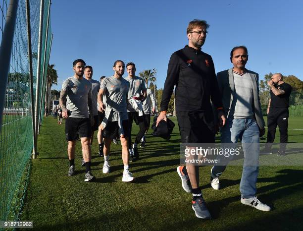 Danny Ings Adam Lallana Danny Ward and Jurgen Klopp of Liverpool during a training session at the Marbella Football Center on February 15 2018 in...