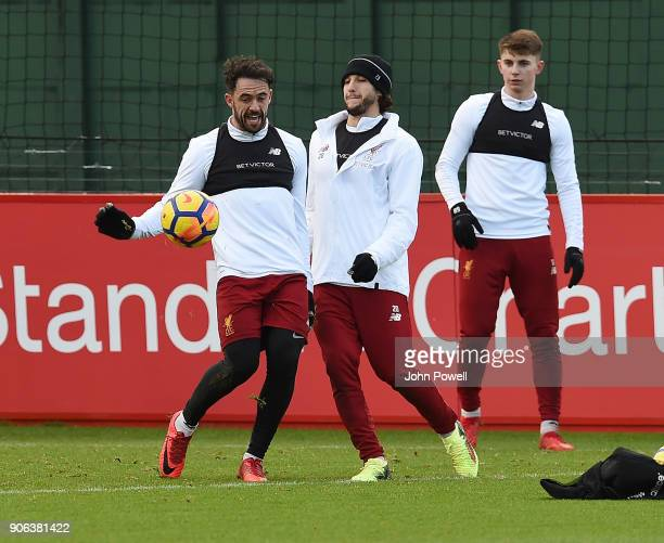 Danny Ings and Adam Lallana of Liverpool during a training session at Melwood Training Ground on January 18 2018 in Liverpool England