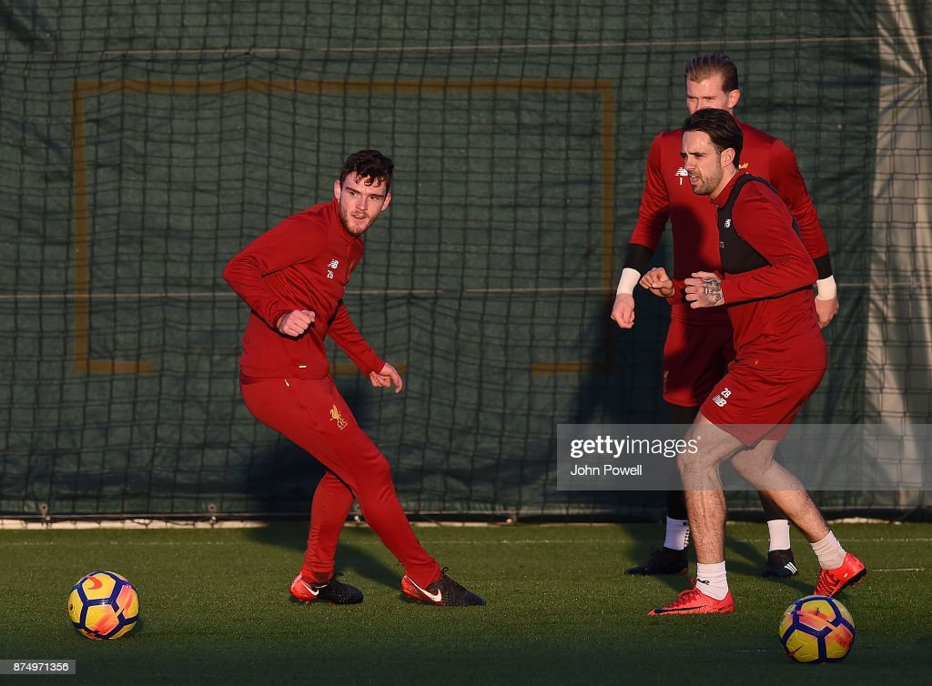 Danny Ings and Andrew Robertson of Liverpool during a training session at Melwood Training Ground on November 16, 2017 in Liverpool, England.
