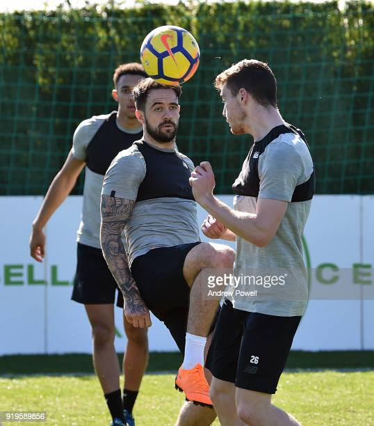 Danny Ings and Andrew Robertson of Liverpool during a training session at Marbella Football Center on February 17 2018 in Marbella Spain