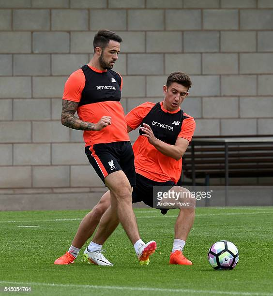 Danny Ings and Cameron Brannagan of Liverpool during a training session at Melwood Training Ground on July 5 2016 in Liverpool England