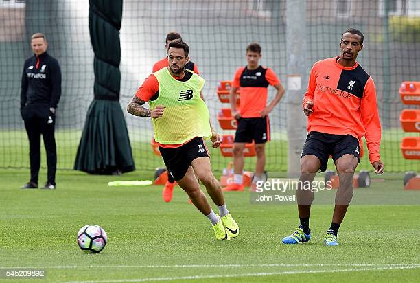 Danny Ings and Joel Matip of Liverpool during a training session at Melwood Training Ground on July 6 2016 in Liverpool England