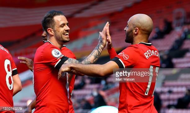 Danny Ings and Nathan Redmond of Southampton celebrate during the Premier League match between Southampton and Burnley at St Mary's Stadium on April...