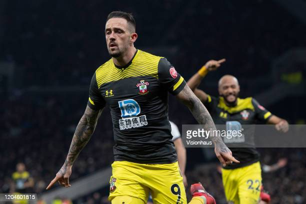 Danny Ings celebrates scoring Southampton's second goal during the FA Cup Fourth Round Replay match between Tottenham Hotspur and Southampton FC at...