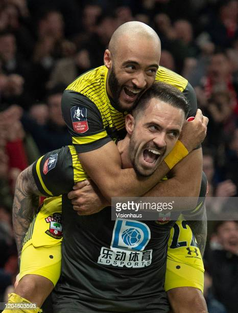 Danny Ings celebrates scoring Southampton's second goal with Nathan Redmond during the FA Cup Fourth Round Replay match between Tottenham Hotspur and...