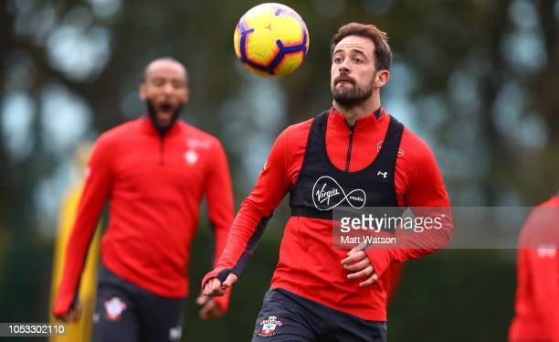 Danny Ings during a Southampton FC training session at the Staplewood Campus on October 25 2018 in Southampton United Kingdom