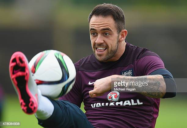 Danny Ings in action during the England U21 Training Session on June 22 2015 in Olomouc Czech Republic