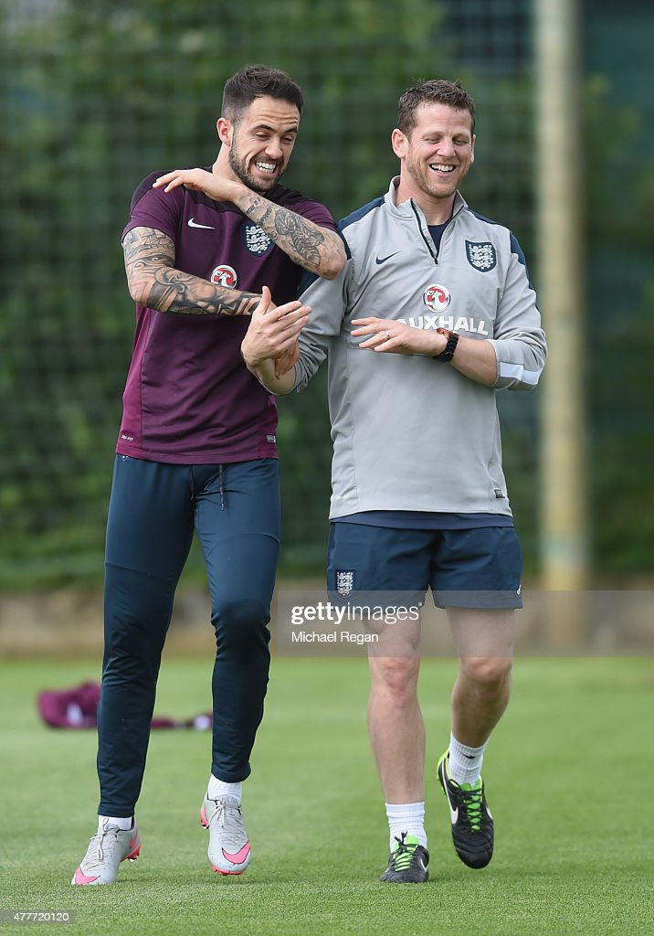 Danny Ings jokes with England U21 lead physio Simon Spencer during the England U21 training session and press conference on June 19, 2015 in Olomouc, Czech Republic.