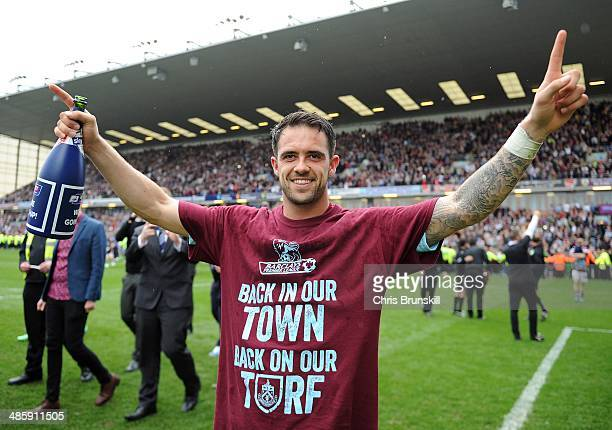 Danny Ings of Burnley celebrates following the Sky Bet Championship match between Burnley and Wigan Athletic at Turf Moor on April 21 2014 in Burnley...