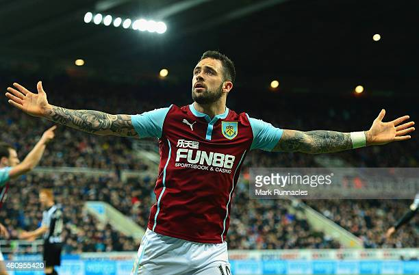 Danny Ings of Burnley celebrates scoring their second goal during the Barclays Premier League match between Newcastle United and Burnley at St James'...