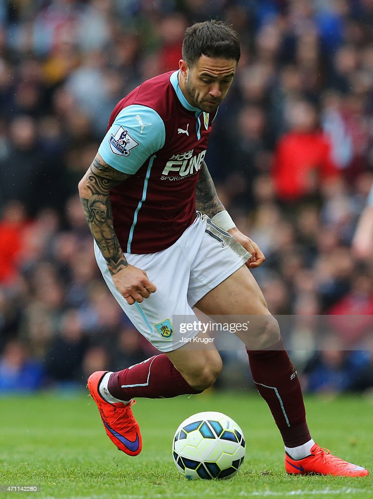 Danny Ings of Burnley in action during the Barclays Premier League match between Burnley and Leicester City at Turf Moor on April 25, 2015 in Burnley, England.
