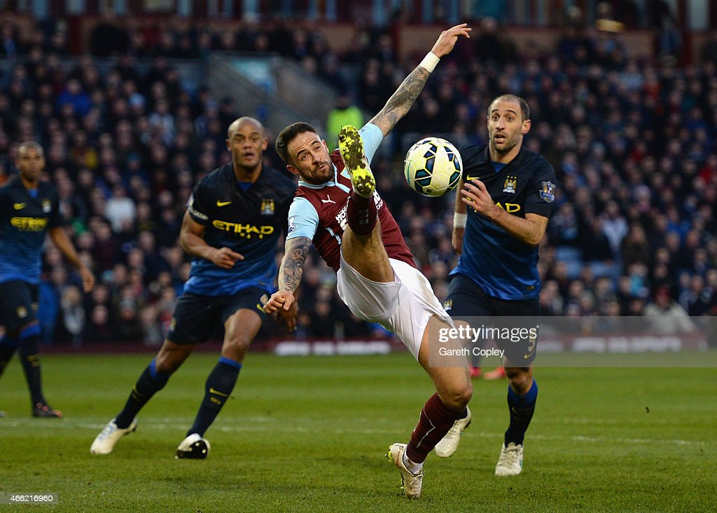 Danny Ings of Burnley on the ball during the Barclays Premier League match between Burnley and Manchester City at Turf Moor on March 14, 2015 in Burnley, England.