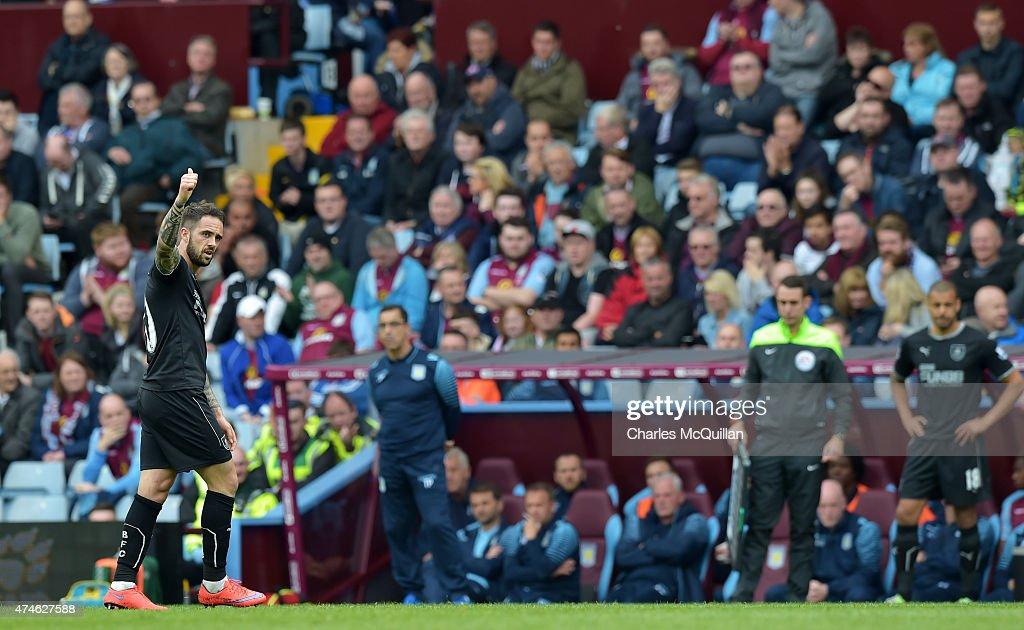 Danny Ings of Burnley waves to Burnley supporters after being substituted during the Barclays Premier League match between Aston Villa and Burnley at Villa Park on May 24, 2015 in Birmingham, England.