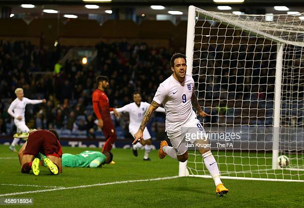 Danny Ings of England celebrates his goal during the U21 International Friendly match between England and Portugal at Turf Moor on November 13, 2014...