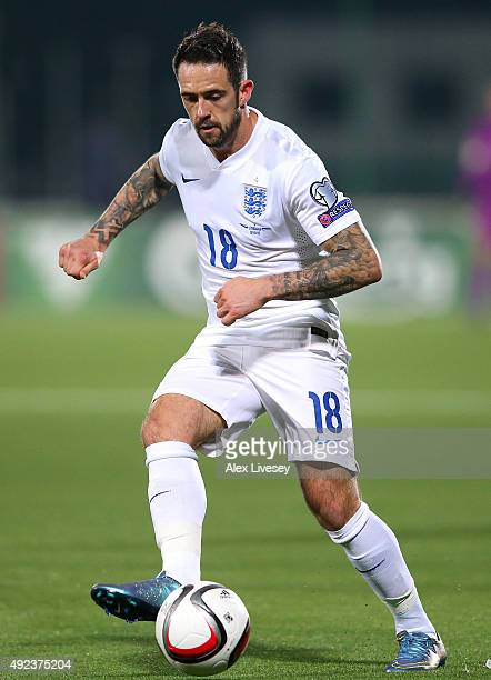 Danny Ings of England passes the ball during the UEFA EURO 2016 qualifying match between Lithuania and England at the LFF Stadium on October 12 2015...