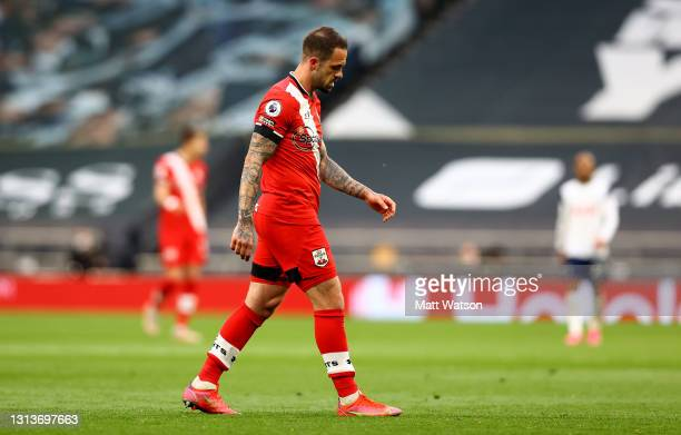 Danny Ings of goes off with an injury during the Premier League match between Tottenham Hotspur and Southampton at Tottenham Hotspur Stadium on April...