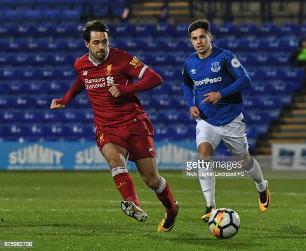 Danny Ings of Liverpool and Liam Walsh of Everton in action during the Liverpool v Everton Premier League 2 game at Prenton Park on November 18 2017...