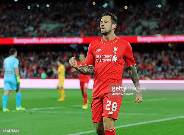 Danny Ings of Liverpool celebrates after scoring the second during the international friendly match between Adelaide United and Liverpool FC at...