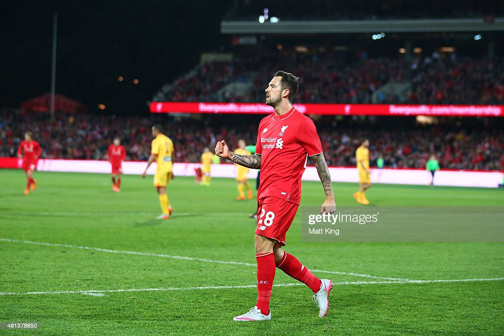 Danny Ings of Liverpool celebrates scoring the second goal during the international friendly match between Adelaide United and Liverpool FC at Adelaide Oval on July 20, 2015 in Adelaide, Australia.