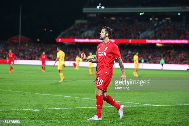Danny Ings of Liverpool celebrates scoring the second goal during the international friendly match between Adelaide United and Liverpool FC at...