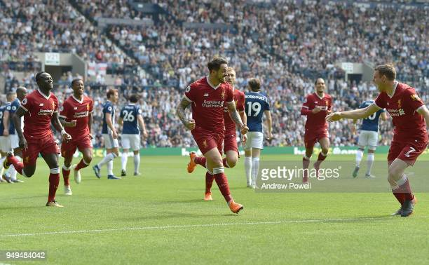 Danny Ings of Liverpool celebrates the opener during the Premier League match between West Bromwich Albion and Liverpool at The Hawthorns on April...