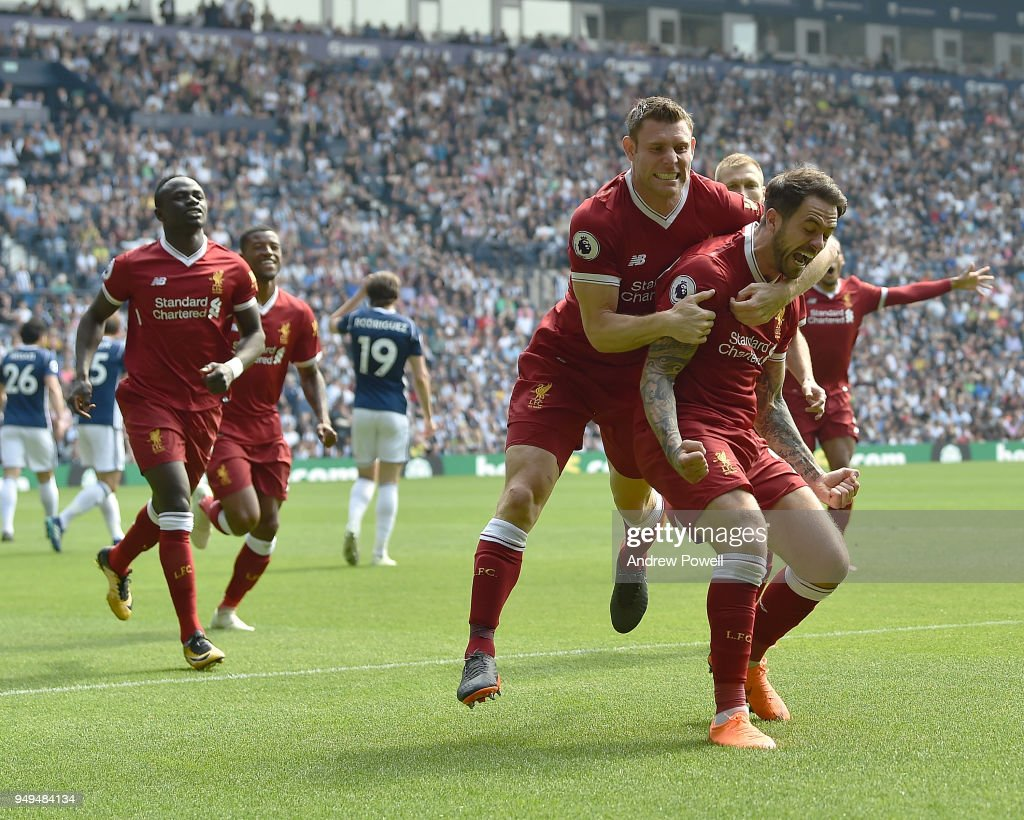 Danny Ings of Liverpool celebrates the opener during the Premier League match between West Bromwich Albion and Liverpool at The Hawthorns on April 21, 2018 in West Bromwich, England.
