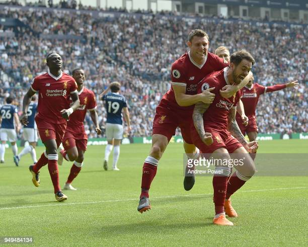 Danny Ings of Liverpool celebrates the opener during the Premier League match between West Bromwich Albion and Liverpool at The Hawthorns on April 21...