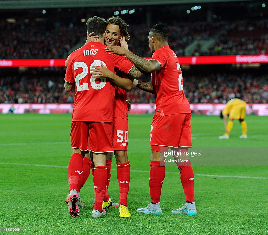 Danny Ings of Liverpool celebrates with teammates after scoring the second during the international friendly match between Adelaide United and Liverpool FC at Adelaide Oval on July 20, 2015 in Adelaide, Australia.