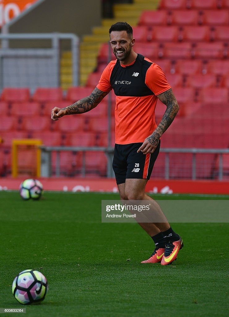 Danny Ings of Liverpool during a training session at Anfield on September 8, 2016 in Liverpool, England.