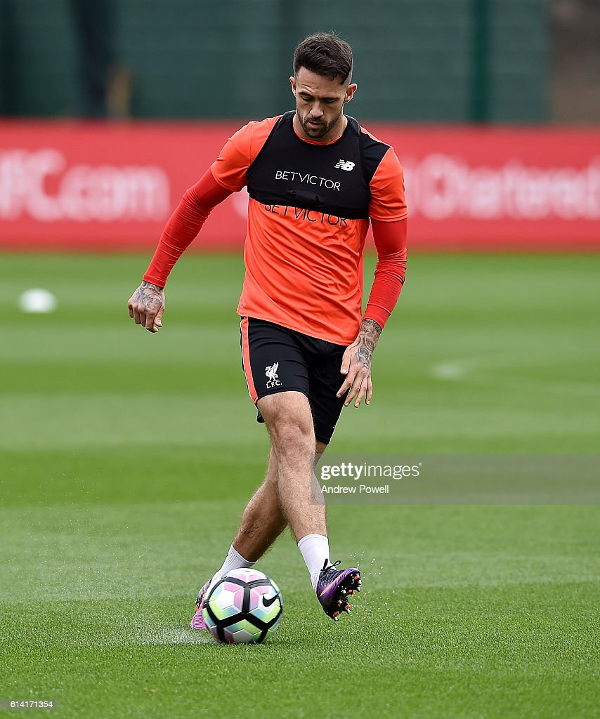 Danny Ings of Liverpool during a training session at Melwood Training Ground on October 12, 2016 in Liverpool, England.